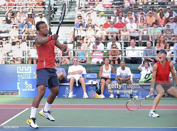 World Team tennis championships: Washington Kastles vs. Springfield Lasers. Pictured, Leander Paes, left, and teammate Rennae Stubbs, right, during...