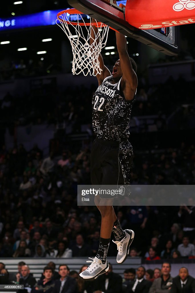 World Team's Andrew Wiggins #22 of the Minnesota Timberwolves dunks the ball during the BBVA Compass Rising Stars Challenge as part of the 2015 NBA Allstar Weekend at the Barclays Center on February 13, 2015 in the Brooklyn borough of New York City.