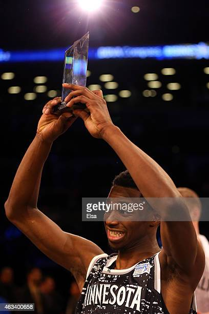 World Team's Andrew Wiggins of the Minnesota Timberwolves is named MVP of the BBVA Compass Rising Stars Challenge as part of the 2015 NBA Allstar...