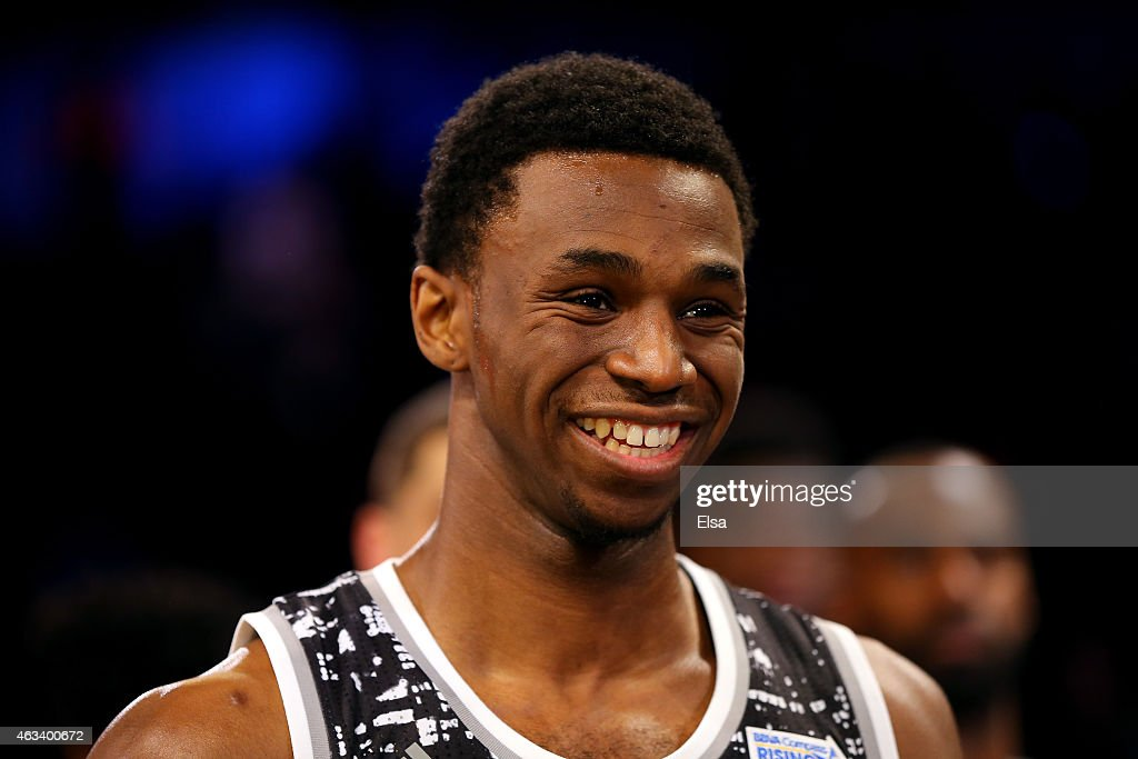 World Team's Andrew Wiggins #22 of the Minnesota Timberwolves is named MVP of the BBVA Compass Rising Stars Challenge as part of the 2015 NBA Allstar Weekend at the Barclays Center on February 13, 2015 in the Brooklyn borough of New York City.