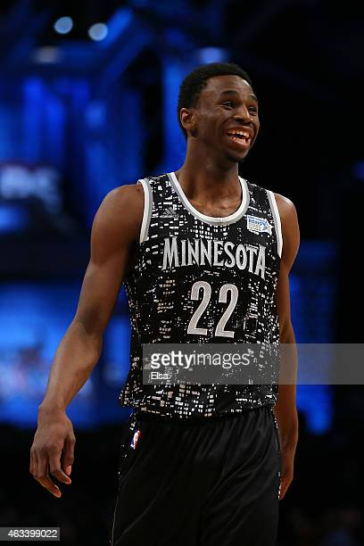 World Team's Andrew Wiggins of the Minnesota Timberwolves smiles on the court during the BBVA Compass Rising Stars Challenge as part of the 2015 NBA...