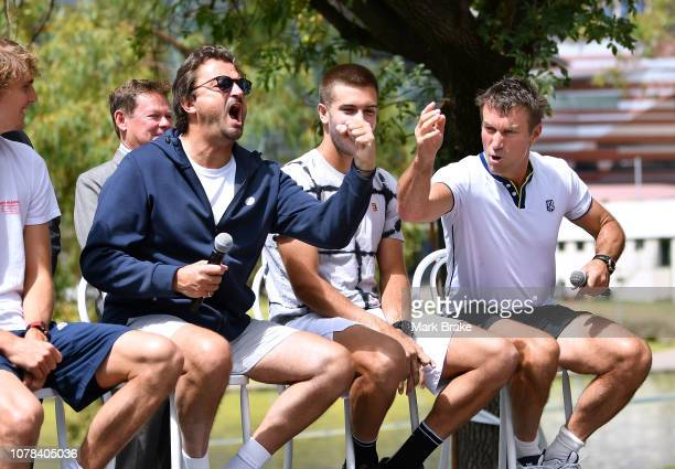 World Tennis Challenge players Media Call near the Adelaide Riverbank Footbridge Henri Leconte and Pat Cash fire up speaking to media before day one...