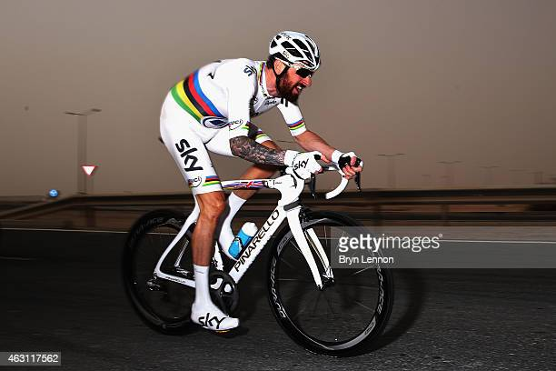 World Time Trial Champion Bradley Wiggins of Great Britain and Team SKY in action on stage three of the 2015 Tour of Qatar, a 10.9km individual time...
