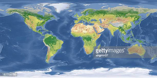 world topographic map - world map stock photos and pictures
