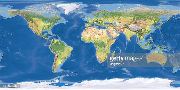 world topographic map,national border - world map stock photos and pictures
