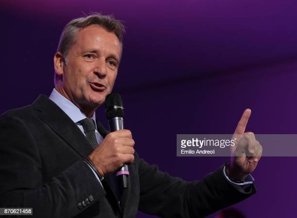 World Tour Executive Chairman and President Chris Kermode delivers a speach during the NextGen ATP Finals Launch Party on November 5 2017 in Milan...