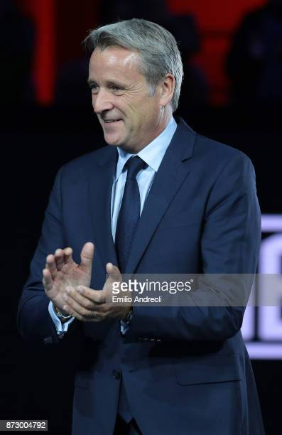 World Tour Executive Chairman and President Chris Kermode is pictured at the end of the mens final on day 5 of the Next Gen ATP Finals on November 11...