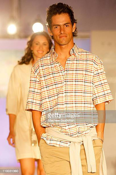 World Tour player Santiago Giraldo participates in a fashion show during the BNP Paribas Open at the Indian Wells Tennis Garden on March 12 2011 in...