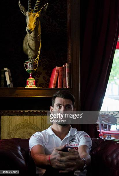 World Touring Car Championship driver champion Jose Maria Pechito López from Argentina attends an interview on November 04 2015 in Buenos Aires...