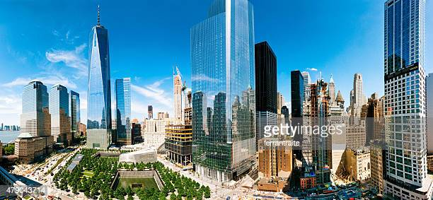 world trade center aerial panoramic view in new york city - lower manhattan stock photos and pictures