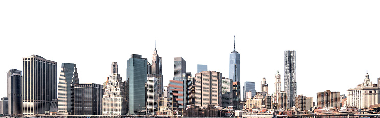 World Trade Center and skyscraper in Lower Manhattan, New York City, isolated 880933970