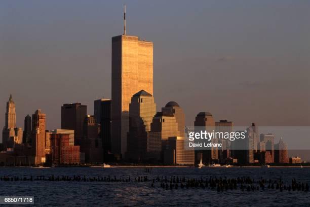 World Trade Center and the skyline of lower Manhattan.