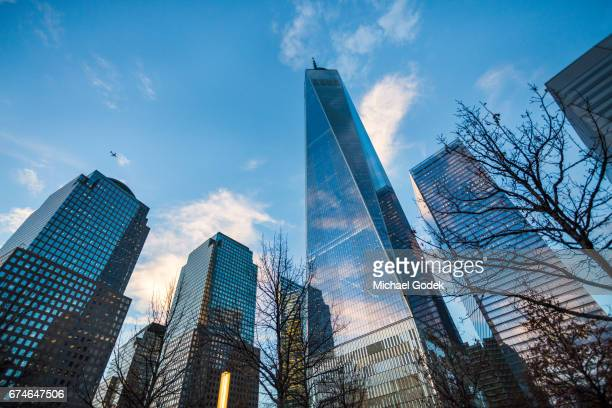 World Trade Center at Dusk with vivid blue sky and reflections on glass