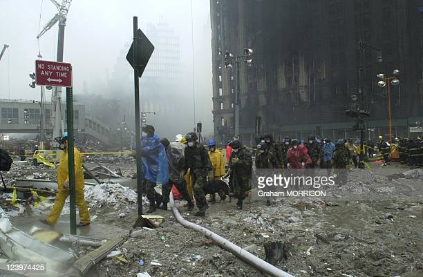 World Trade Center Attack, bodies of victims removed from the disaster site in New York, United States on September 14, 2001