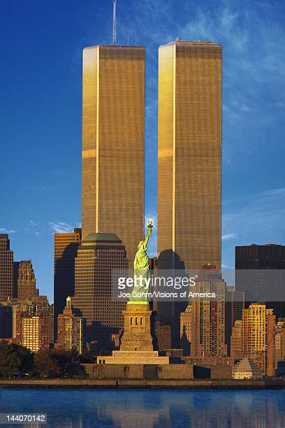 World Trade Center behind Statue of Liberty