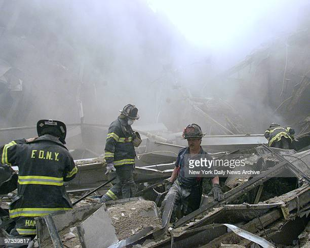 World Trade Center collapses - the aftermath of a terrorist attack. A hijacked American Airlines Boeing 767, originating from Boston's Logan Airport,...