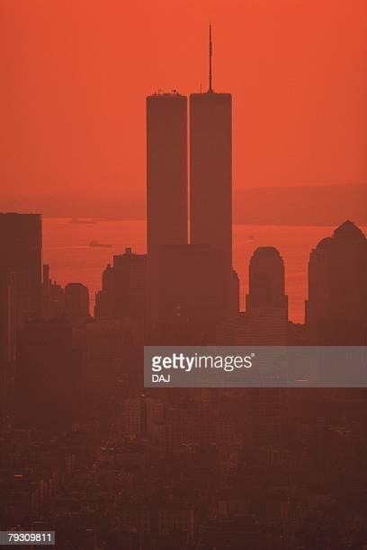World Trade Center in New York, Manhattan, United State of America, Red Tone
