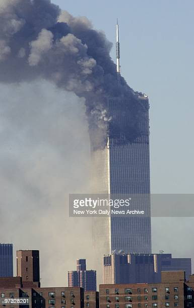 World Trade Center Terrorist Attack-2 World Trade Center continues to burn after the first tower collapses - the aftermath of a terrorist attack. A...