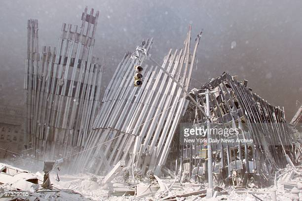World Trade Center Terrorist Attack-Large sections of the upper floors of the World Trade Center lie on the ground after the collapsed of 1 World...