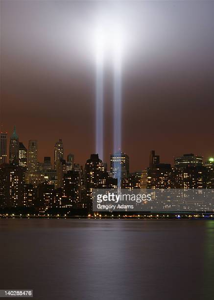 world trade center tribute in light - world trade center memorial stock pictures, royalty-free photos & images