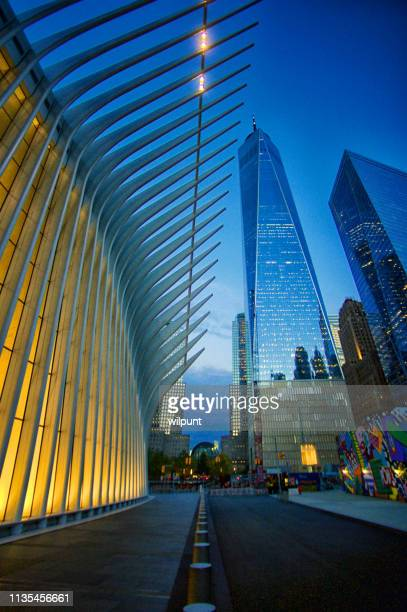 world trade centre and oculus transportation hub new york city - hub stock pictures, royalty-free photos & images
