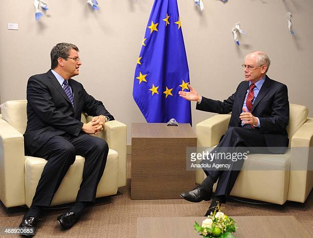 World Trade Organization DirectorGeneral Roberto Azevedo and European Council President Herman Van Rompuy meet at the European Council building in...