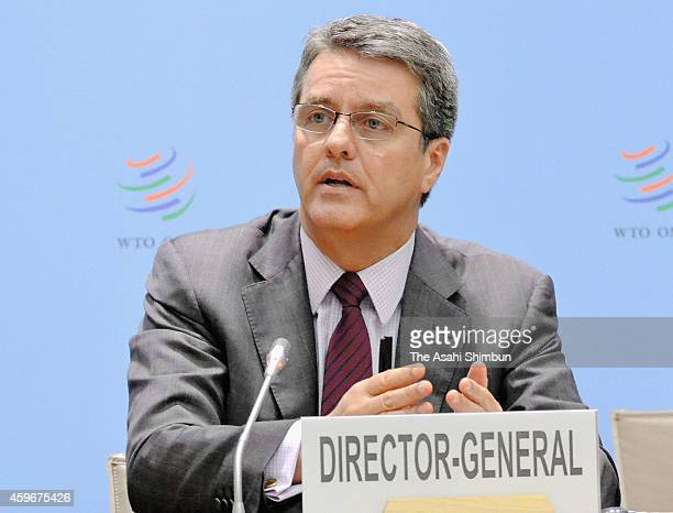 World Trade Organization SecretaryGeneral Roberto Azevedo speaks during a press conference at the WTO headquarters on November 27 2014 in Geneva...
