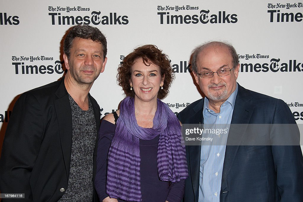 World Voices Festival director Jakab Orsos, Patricia Cohen and Salman Rushdie attends TimeTalks Presents: Freedom and Moral Courage Salman Rushdie and Ai Wei Wei at Times Center on May 3, 2013 in New York City.