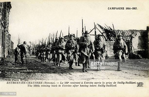 109th French division marching in to EstréesenChaussée after taking SaillySaillisel in the Somme Picardy France French army part of Allied Forces