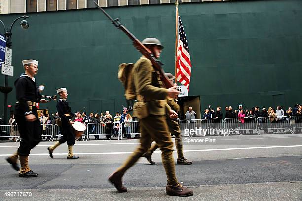 World War 1 army reenactors march in the nation's largest Veterans Day Parade in New York City on November 11 2015 in New York City Known as...