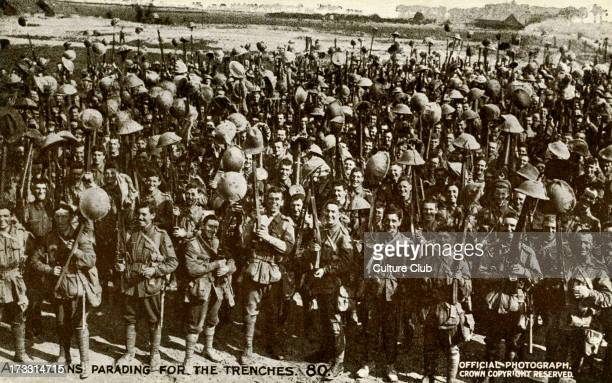 Australians parading for the trenches Official War Photograph published on postcard Series 10 No 80 Caption on reverse 'These are the men who shortly...