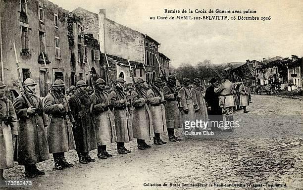 Awarding of French Croix de Guerre avec Palme to the Priest of MénilsurBelvitte France 18 December 1916