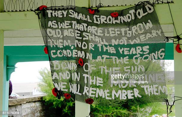 world war 1 centenary - yarn bombing stock photos and pictures