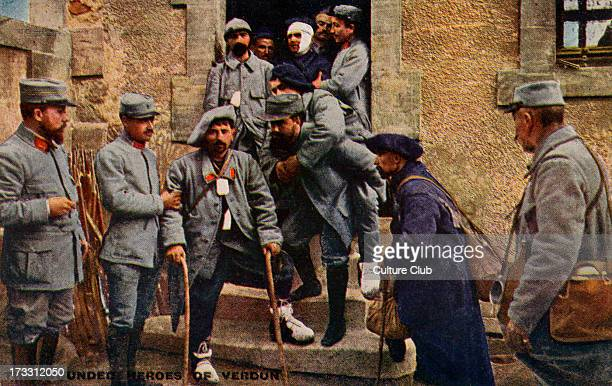 French army at the Battle of Verdun 21st of February – 18th December 1916 Wounded French soldiers English version of postcard with offical photograph...
