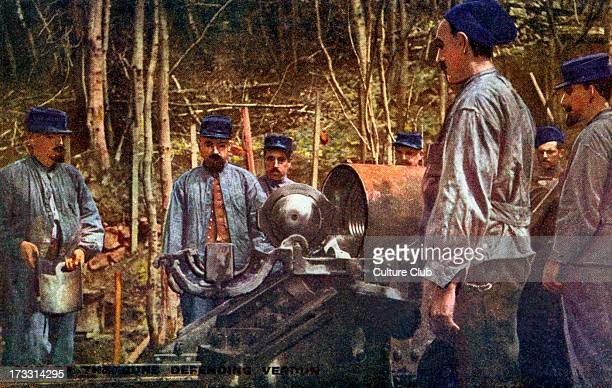 French army at the Battle of Verdun. 21st of February – 18th of December 1916. One of the French guns defending Verdun. English version of postcard...