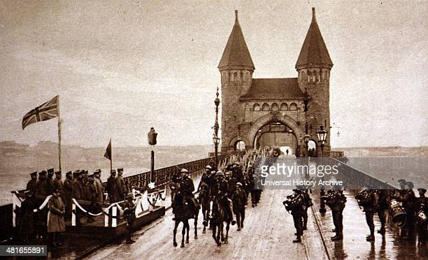 World War 1 Grenadier Guards marching up to the Hohenzollern Bridge during their occupation of Cologne
