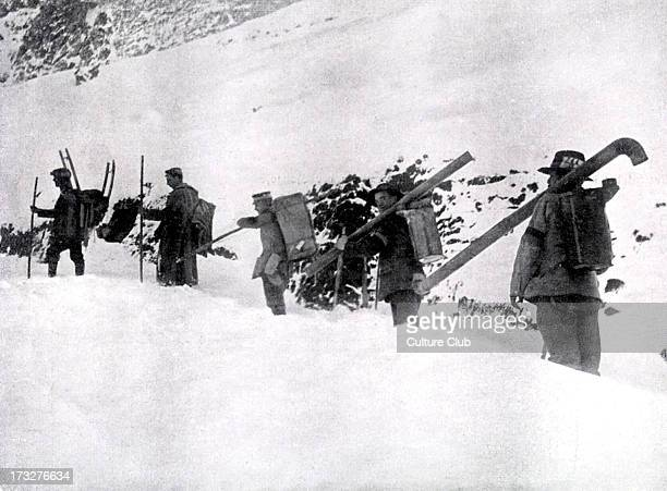 Hungarians Workers Unit in the Dolomites transporting ovens for the soldiers' shelter Mountain range in north easten Italy