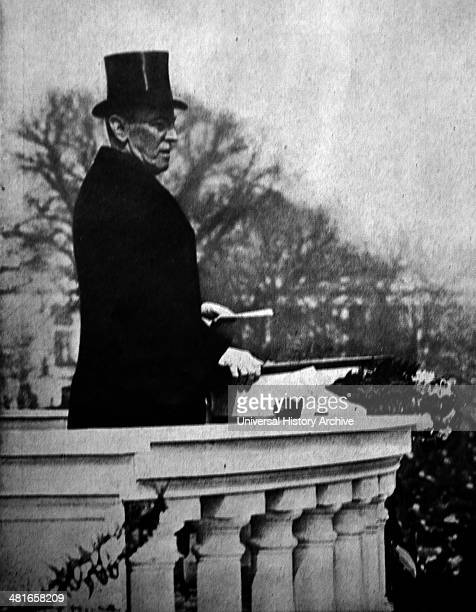 World War 1 President Woodrow Wilson a month before the March 5 1917 addresses the crowd in front of the Capitol building in Washington the inaugural...
