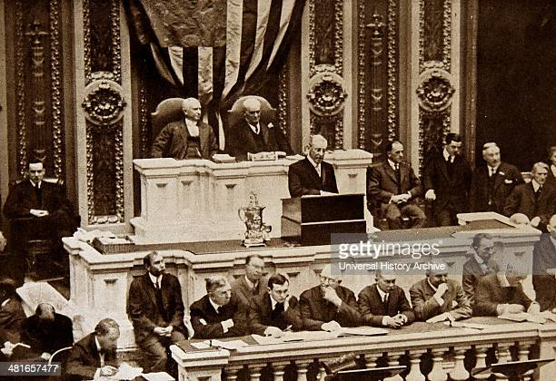 World War 1 President Woodrow Wilson addresses Congress in Washington DC 7th December 1915 during the state of the union address