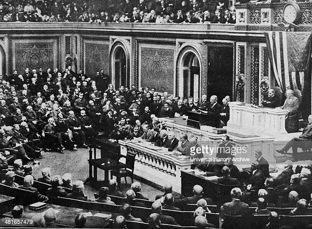 World War 1 President Woodrow Wilson addresses Congress in Washington DC 3rd February 1917 announcing the termination of diplomatic relations with...