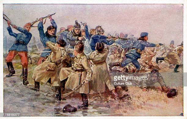 Riding master Franz Bastar, Commander of the 6th Squadron of the Dragoon Regiment Archduke Albrecht leading the assault on enemy troops with a pistol...