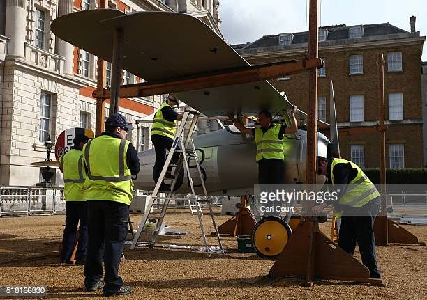 World War 1 Sopwith Snipe is assembled at Horse Guards Parade on March 30 2016 in London England The RAF Museum will display aircraft from WW1 and...
