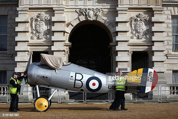 World War 1 Sopwith Snipe is moved into position at Horse Guards Parade on March 30 2016 in London England The RAF Museum will display aircraft from...