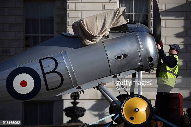 World War 1 Sopwith Snipe is unloaded from a truck at Horse Guards Parade on March 30 2016 in London England The RAF Museum will display aircraft...