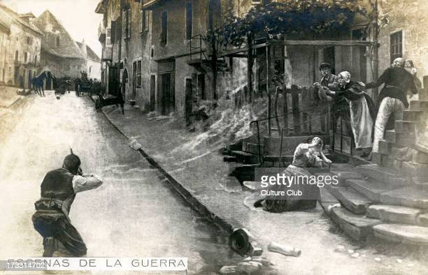 Street combat Showing German soldier firing against the enemy as a family looks on Spanish postcard series 'Escenas de la Guerra'/ 'Scenes of War'