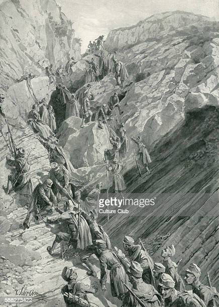 War between Austro- Hungary and Montenegro. Austro- Hungarian front line troops climbing a Karst gorge. Illustration by Victor Schramm after...