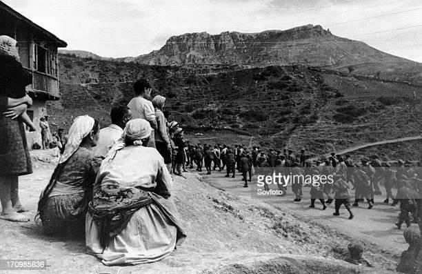 World war 2, a column of germans taken prisoner during fighting near sevastopol, crimea, may 1944.