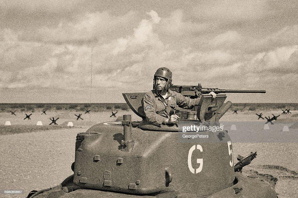 World War 2 Armored Tank on Beach : Stock Photo