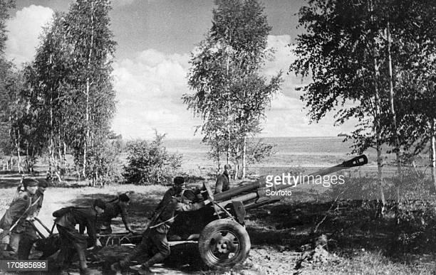 World war 2 august 1943 a red army gun crew pulling their gun to the firing position