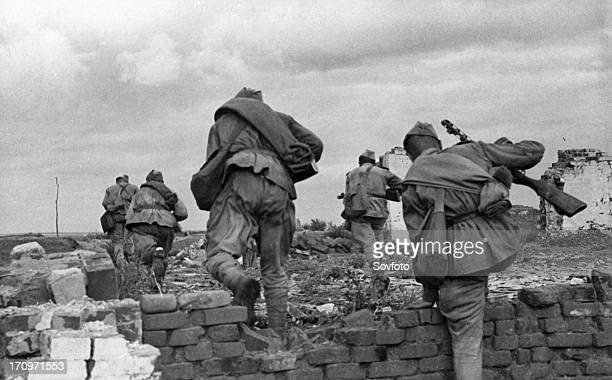 World war 2 august 1943 the kharkov direction a group of automatic riflemen dislodging germans from an inhabited locality ukraine
